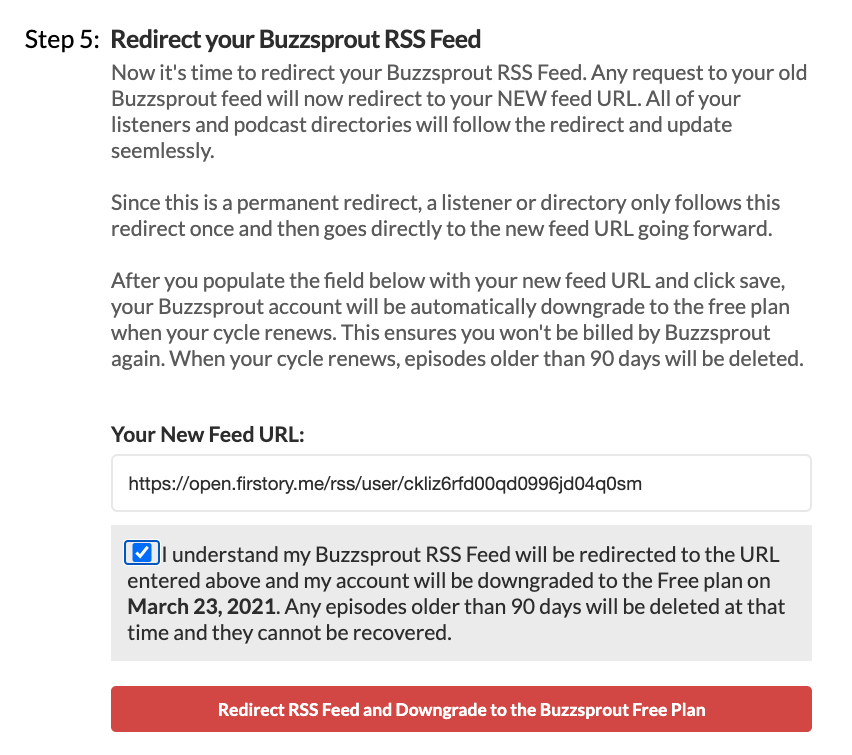 redirect from buzzsprout